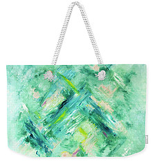 Abstract Green Blue Weekender Tote Bag by Cindy Lee Longhini