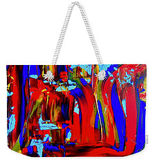 Abstract In Blue And Red Weekender Tote Bag