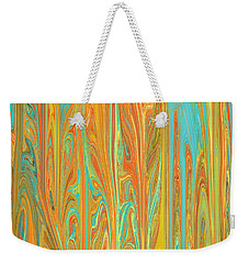 Weekender Tote Bag featuring the digital art Abstract In Copper, Orange, Blue, And Gold by Jessica Wright