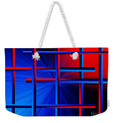 Abstract In Red/blue 3 Weekender Tote Bag
