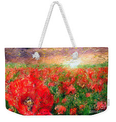 Abstract Landscape Of Red Poppies Weekender Tote Bag