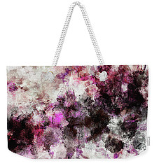 Weekender Tote Bag featuring the painting Abstract Landscape Painting In Purple And Pink Tones by Ayse Deniz