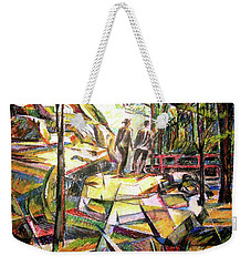 Weekender Tote Bag featuring the drawing Abstract Landscape With People by Stan Esson