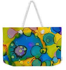 Weekender Tote Bag featuring the painting Abstract Microscope Party by Nikki Marie Smith