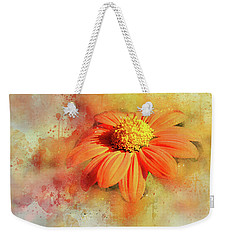 Abstract Orange Flower Weekender Tote Bag by Judi Saunders