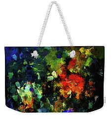 Weekender Tote Bag featuring the painting Abstract Painting In Dark Blue Tones by Ayse Deniz