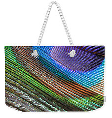 Abstract Peacock Feather Weekender Tote Bag by Angela Murdock