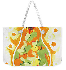 Weekender Tote Bag featuring the painting Abstract Pear by Kathleen Sartoris