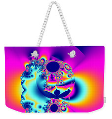 Abstract Pink And Turquoise Fractal Globe Weekender Tote Bag