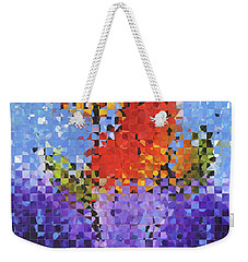 Weekender Tote Bag featuring the painting Abstract Red Flowers - Pieces 5 - Sharon Cummings by Sharon Cummings