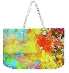 Weekender Tote Bag featuring the painting Abstract Seascape Painting With Vivid Colors by Ayse Deniz