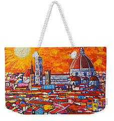 Abstract Sunset Over Duomo In Florence Italy Weekender Tote Bag by Ana Maria Edulescu