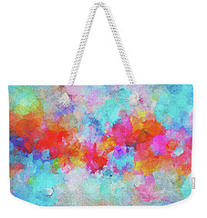 Weekender Tote Bag featuring the painting Abstract Sunset Painting With Colorful Clouds Over The Ocean by Ayse Deniz