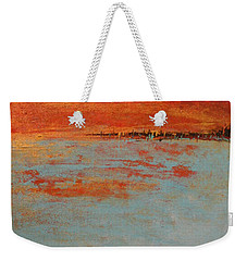 Abstract Teal Gold Red Landscape Weekender Tote Bag