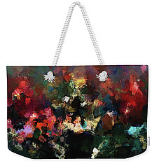 Weekender Tote Bag featuring the painting Abstract Wall Art In Dark Colors by Ayse Deniz