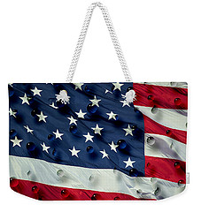 Abstract Water Drops On Usa Flag Weekender Tote Bag by Georgeta Blanaru