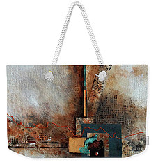 Weekender Tote Bag featuring the painting Abstract With Stud Edge by Joanne Smoley