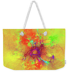 Weekender Tote Bag featuring the digital art Abstract With Yellow by Deborah Benoit