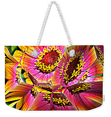 Abstract Yellow Flame Zinnia Weekender Tote Bag