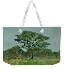 Weekender Tote Bag featuring the digital art Acacia Tree And Termite Hills by Ernie Echols