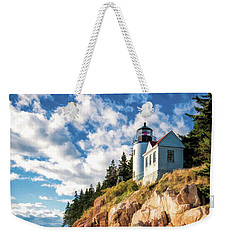 Weekender Tote Bag featuring the painting Acadia Bass Harbor Lighthouse by Christopher Arndt