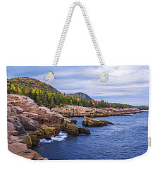 Weekender Tote Bag featuring the photograph Acadia's Coast by Chad Dutson