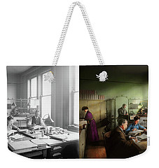 Weekender Tote Bag featuring the photograph Accountant - The- Bookkeeping Dept 1902 - Side By Side by Mike Savad