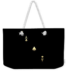Ace Of Spades In Gold On Black   Weekender Tote Bag