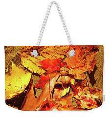 Weekender Tote Bag featuring the photograph Acorns Fall Maple Leaf by Meta Gatschenberger