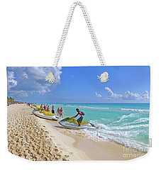 Weekender Tote Bag featuring the digital art Active Beach M3 by Francesca Mackenney