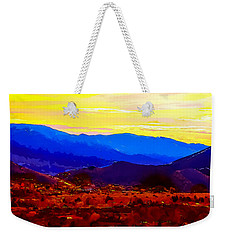 Weekender Tote Bag featuring the painting Acton California Sunset by Dr Bob Johnston