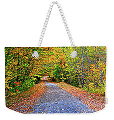 Weekender Tote Bag featuring the photograph Adirondack Autumn Road by Diane E Berry