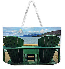 Weekender Tote Bag featuring the photograph Adirondack Chair For Two by Kendall McKernon