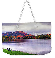 Adirondack Chairs In The Adirondacks. Mirror Lake Lake Placid Ny New York Mountain Weekender Tote Bag