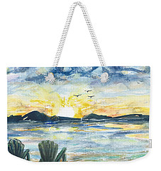 Weekender Tote Bag featuring the painting Adirondack Chairs With A View by Reed Novotny
