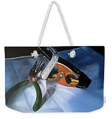 Weekender Tote Bag featuring the painting Adjustable by LaVonne Hand