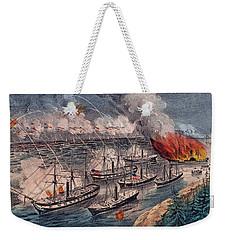 Admiral Farragut's Fleet Engaging The Rebel Batteries At Port Hudson Weekender Tote Bag by American School