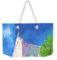 Weekender Tote Bag featuring the digital art Adobe Church by OLena Art Brand