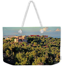 Weekender Tote Bag featuring the photograph Adobe Homestead Santa Fe by Diana Mary Sharpton