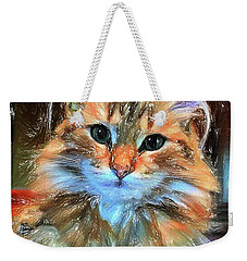 Weekender Tote Bag featuring the painting Adopted by Chris Armytage