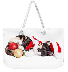 Adorable Christmas Calico Santa Kitty Weekender Tote Bag