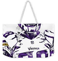 Weekender Tote Bag featuring the mixed media Adrian Peterson Minnesota Vikings Pixel Art 2 by Joe Hamilton