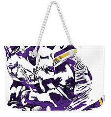 Weekender Tote Bag featuring the mixed media Adrian Peterson Minnesota Vikings Pixel Art by Joe Hamilton