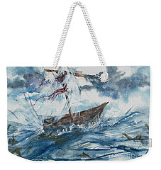 Weekender Tote Bag featuring the painting Adrift At Sea by Reed Novotny