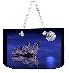 Weekender Tote Bag featuring the photograph Adrift In The Moonlight - Old Fishing Boat by Gill Billington