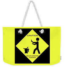 Weekender Tote Bag featuring the digital art Adults Catching Pokemon 2 by Shane Bechler