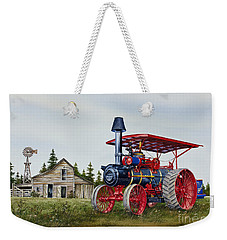 Weekender Tote Bag featuring the painting Advance Rumely Steam Traction Engine by James Williamson