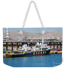 Aegaeo Research Vessel At Piraeus Weekender Tote Bag
