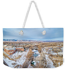 aerial cityscape of Fort Collins Weekender Tote Bag