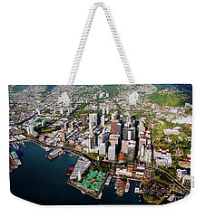 Weekender Tote Bag featuring the photograph Aerial Panorama - Downtown - Honolulu, Oahu, Hawaii  by D Davila